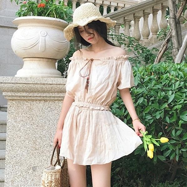 [超豐國際]夏季港味復古氣質一字領綁繩上衣 百搭顯瘦純色裙褲1入