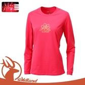 【Wildland 荒野 女 遠紅外線印花保暖衣《桃紅》】0A12655/休閒衫/透氣/彈性/保暖衣