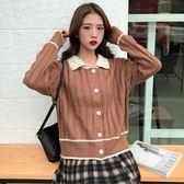 秋季新款女裝甜美拼色娃娃領短款開衫外套韓版寬松百搭針織衫毛衣