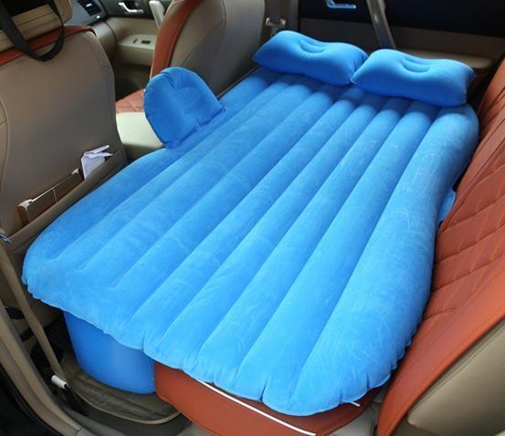 【免運費】  【獨愛汽車精品】【買一送五】汽車用品絨毛車載旅行車震充氣床(加厚款)藍色