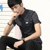 短袖條紋襯衫 男士修身條紋薄款青少年襯衣《印象精品》t340