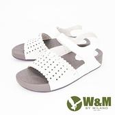 【南紡購物中心】W&M (女) 鏤空厚底彈力涼鞋 女鞋 -白(另有灰)