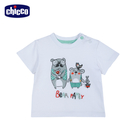 chicco-小熊家族-短袖上衣-白...
