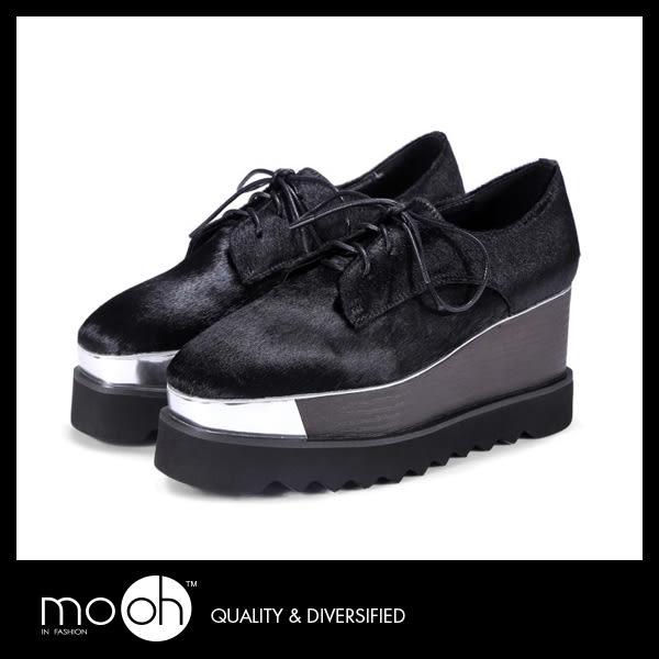 厚底休閒鞋 增高鞋 牛津鞋 歐美時尚馬毛方頭厚底鞋 mo.oh (歐美鞋款)
