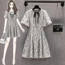 洋裝碎花裙中大尺碼M-4XL新款法式設計...