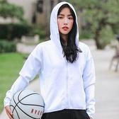 運動外套-連帽寬鬆休閒純色健身女夾克3色73uk12【時尚巴黎】