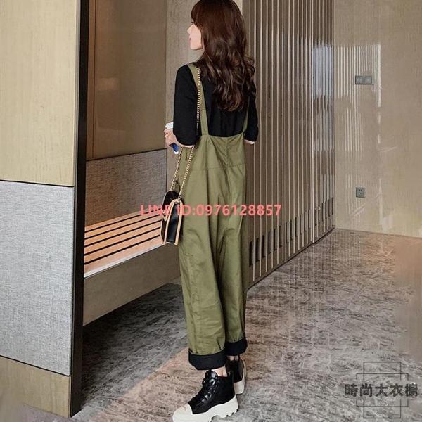 工裝背帶褲套裝女洋氣減齡韓版寬鬆高腰闊腿吊帶褲子【時尚大衣櫥】