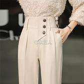 休閒褲女哈倫褲2021年新款夏季時尚九分蘿卜西裝褲女高腰顯瘦減齡 快速出貨