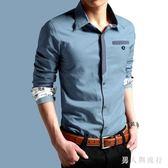 大碼牛仔襯衫新款男裝長袖襯衣修身型韓版潮流休閒衣服個性 AB5558 【男人與流行】