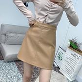 皮裙(短裙)-PU純色A字裙防走光女裙子3色73xg13[時尚巴黎]