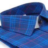 【金‧安德森】藍色格紋紅線厚暖窄版長袖襯衫