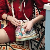 蘇塔原創女包 度假民族風布藝編織斜挎包水桶包包 降價兩天
