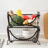 金屬廚房用品落地收納放碗瀝水蔬菜置物架OU1090『科炫3C』