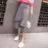 大碼秋裝新款韓版修身顯瘦百搭高腰針織半身裙女中長款加厚魚尾裙 qf10176『Pink領袖衣社』