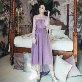 禮服 2020春夏裝 新款 女 維多利亞 法式 復古 紫色 法國小眾 連衣裙 長裙