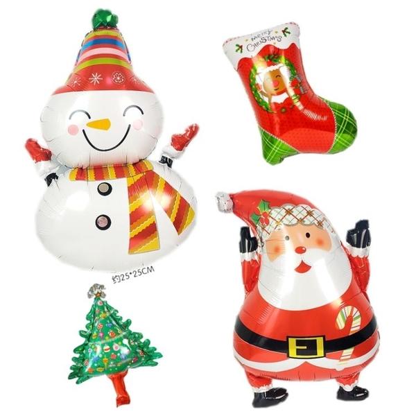 聖誕節卡通鋁膜氣球學校商場地布置聖誕老人雪花主題派對聚會裝飾 城市科技DF