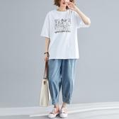 夏季女裝民族風大尺碼 白色印花短袖t恤 2020新款寬鬆學生百搭上衣