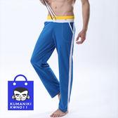 【熊老大】-其_雙色腰帶前繫帶貼身透氣運動長褲休閒褲_藍色【KWN011】
