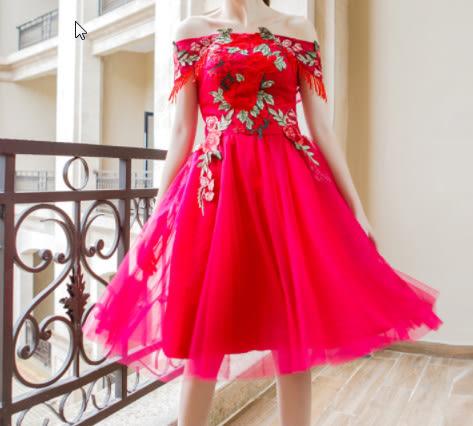(45 Design)  訂做7天到貨 韓風婚紗禮服 晚宴 顯瘦性感晚宴結婚禮服婚紗 高級訂製短禮服1