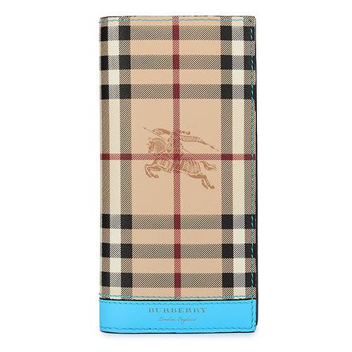 BURBERRY Haymarket 燙金LOGO戰馬經典格紋防刮皮革直式男用長夾(駝/亮藍)080151-1