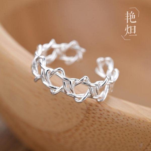 創意韓版六芒星925純銀戒指女個性時尚星星食指指環開口銀飾禮物      汪喵百貨