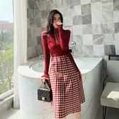 VK精品服飾 韓國風名媛針織拼接格紋顯瘦長版長袖洋裝