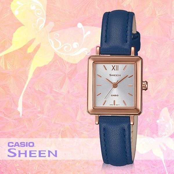 CASIO 卡西歐 手錶專賣店 SHE-4538GL-7A SHEEN 方形簡約女錶 皮革錶帶 防水50米 SHE-4538GL