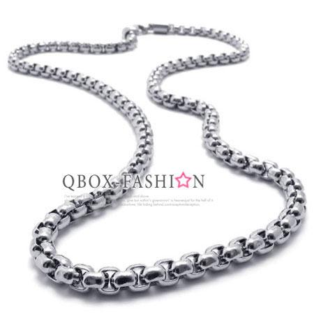 《 QBOX 》FASHION 飾品【N10020719】精緻個性圈環串相扣鈦鋼項鍊子/鋼鍊條(0.5cm)