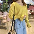 針織衫 -Tirlo-可愛束袖V領針織衫...