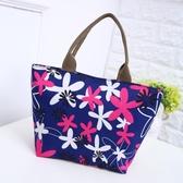 手提包 碎花便當包時尚休閒牛津大容量側肩背包《小師妹》f502