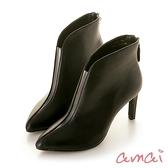 amai透明V口素面細高跟短靴 黑