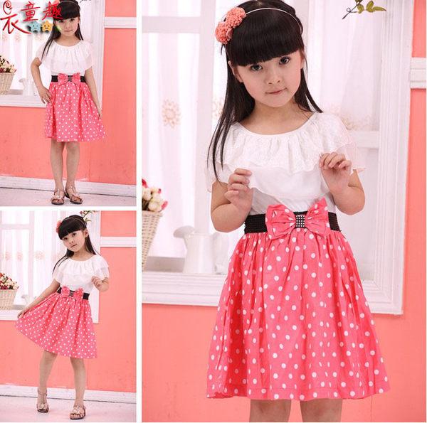 衣童趣♥甜美中大女童可愛點點洋裝 蝴蝶結荷葉邊氣質公主洋裝 普普風連身裙
