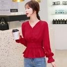 限時特價 秋裝新款韓版V領收腰紅色襯衫女長袖心機上衣設計感小眾襯衣