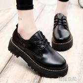 英倫風復古學生單鞋女鞋子休閒中跟百搭原宿小皮鞋潮 韓語空間