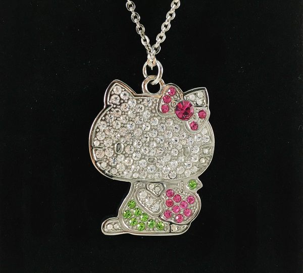 【震撼精品百貨】Hello Kitty 凱蒂貓~造型項鍊-綠蘋果