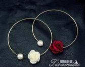 歐美復古宮廷珍珠水鑽玫瑰花朵裝飾頸項鍊鎖骨鍊女合金項圈飾品潮  聖誕節下殺