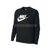 Nike 長袖T恤 NSW Essential Crew Top 黑 白 女款 刷毛 大學T 運動休閒 【ACS】 BV4113-010
