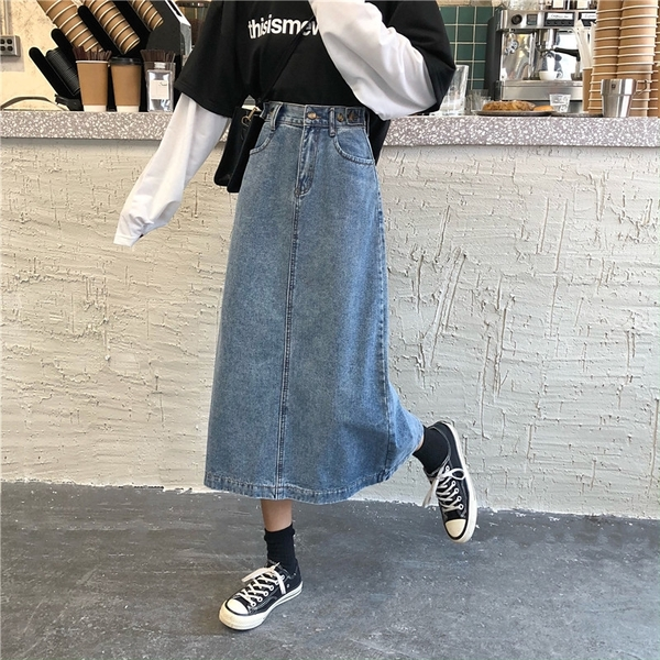 免運 -ZUCAS - 修身高腰牛仔裙中長款牛仔裙中裙半身裙 - HL-7017
