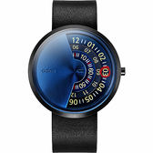 【台南 時代鐘錶 ODM】PALETTE 調色盤系列 創意讀盤概念特色腕錶 DD171-03 皮帶 藍/黑 44mm