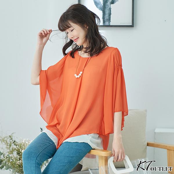 【KT】飄逸層次雪紡上衣-M-XL 橘色