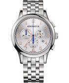 AEROWATCH Grace優雅風範三眼計時腕錶-銀 A83966AA03M