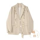 西裝絲巾外套女韓版寬鬆系帶西服顯瘦氣質上衣【橘社小鎮】