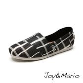 【Joy&Mario】大格子平底休閒鞋 - 61503W BLACK 美碼7