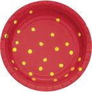 7吋金箔點點圓盤8入-蘋果紅
