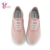 GIOVANNI VALENTINO 中童 套入式懶人鞋 休閒鞋 舒適皮面柔軟內裡 H8862#粉紅◆OSOME奧森鞋業