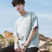 夏韓版男士個性口袋寬鬆T恤學生小清新日系青少年五分袖