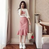 夏裝2019新款時尚網紅法式赫本套裝裙子女很仙的洋氣連衣裙兩件套