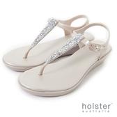 HOLSTER  璀璨流鑽T字帶楔型涼鞋-香檳金