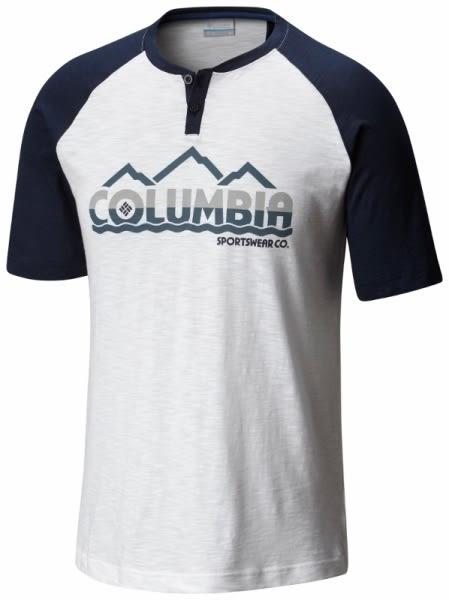 【Columbia】男款純棉短袖上衣-白AE0093(WT)