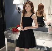 春夏新款女裝收腰顯瘦修身黑色禮服短款裙子吊帶洋裝赫本小黑裙      芊惠衣屋